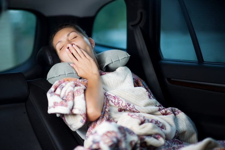 Take a break during long drives for car travel safety.